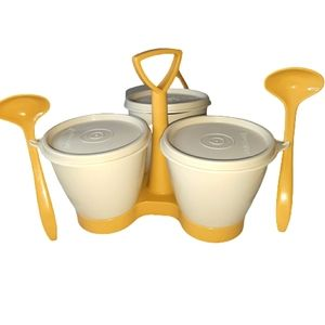 Tupperware Vintage Like-New Gold Condiment Carrier